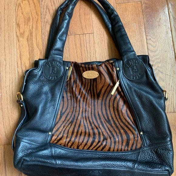 Fendi Handbags - FENDI  Selleria Black Pebbled Leather Bag Gold